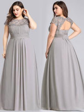 Load image into Gallery viewer, Chiffon Bridesmaid Dress with cap sleeve - Grey