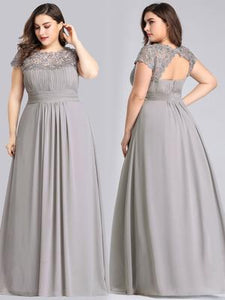 Chiffon Bridesmaid Dress with cap sleeve - Grey