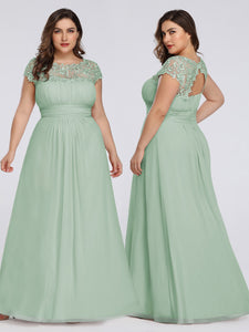 Chiffon Bridesmaid Dress with cap sleeve - Mint Green
