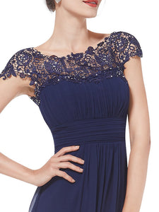 Chiffon Bridesmaid Dress with cap sleeve - Navy Blue