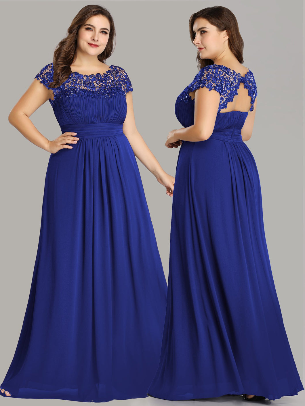 Chiffon Bridesmaid Dress with cap sleeve - Sapphire Blue