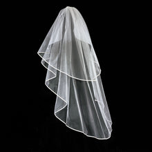 Load image into Gallery viewer, Elizabeth -  Stunning Ivory Veil with Satin Band Edging