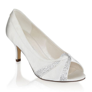 Gigi - Ivory Extra Wide Fit Mid Heel Peep Toes By Paradox London