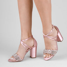 Load image into Gallery viewer, Hira -  Blush Satin Embroidered High Block Sandal by Paradox London