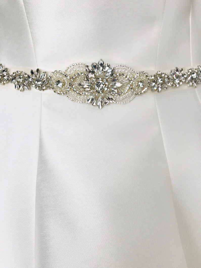 Ivory Satin Bridal Belt with Crystal Rhinestones