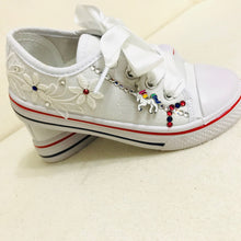Load image into Gallery viewer, Childrens White Canvas Unicorn Pumps with Crystals & Satin Laces