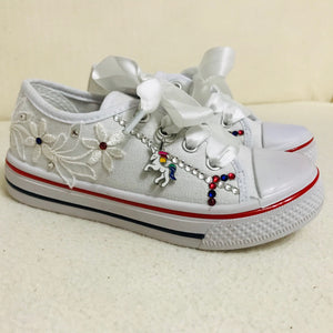 Childrens White Canvas Unicorn Pumps with Crystals & Satin Laces