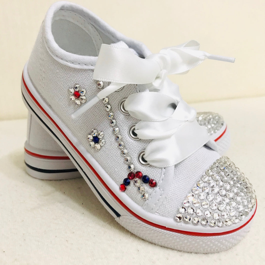 Childrens White Canvas Sparkly Pumps with Crystals & Satin Laces