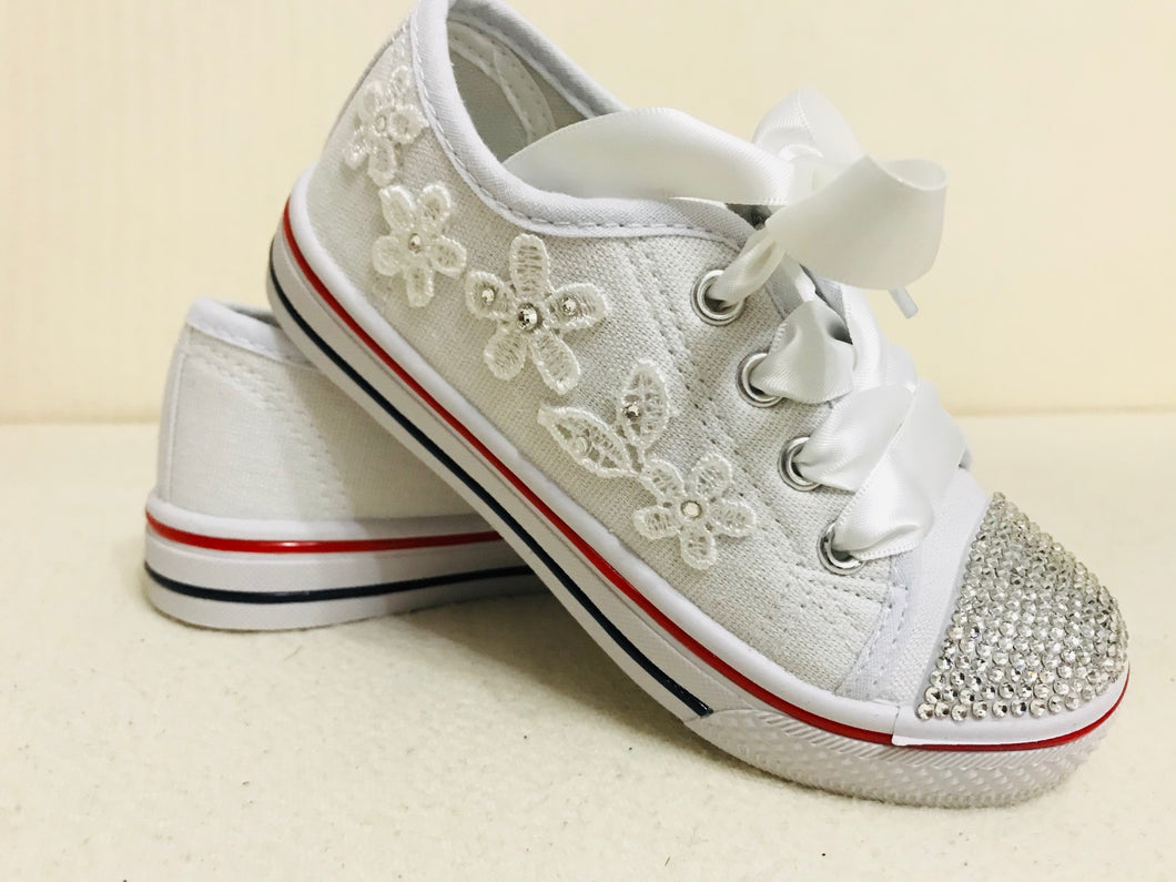 Childrens White Canvas Pumps with Clear Crystals & Satin Laces