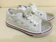 Load image into Gallery viewer, Childrens White Canvas Pumps with Clear Crystals & Satin Laces