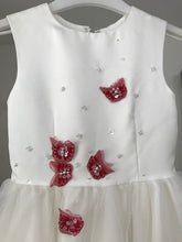 Load image into Gallery viewer, Girls Ivory Flower Girl Dress with Red Butterflies- Age 6