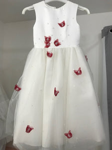 Girls Ivory Flower Girl Dress with Red Butterflies- Age 6