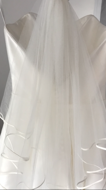 Elizabeth -  Stunning Ivory Veil with Satin Band Edging