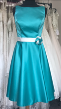 Load image into Gallery viewer, Shop Sample - Turquoise Tea length Bridesmaid Dress by Linzi Jay Size 14 - EN131