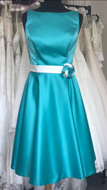 Shop Sample - Turquoise Tea length Bridesmaid Dress by Linzi Jay Size 14 - EN131