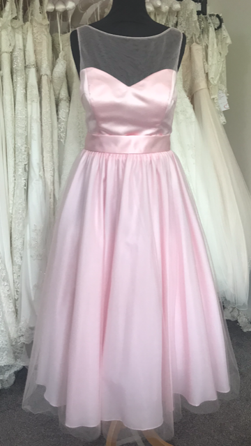 Shop Sample - Baby Pink Tea length Bridesmaid Dress by Linzi Jay Size 16 - EN395
