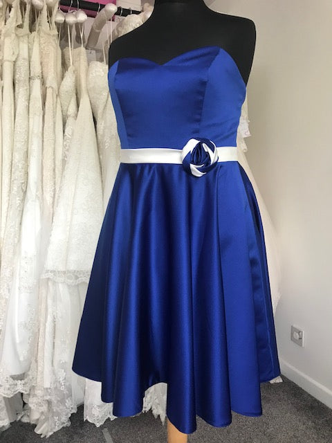 Shop Sample - Royal Blue Knee length Bridesmaid Dress by Linzi Jay Size 16 - EN170