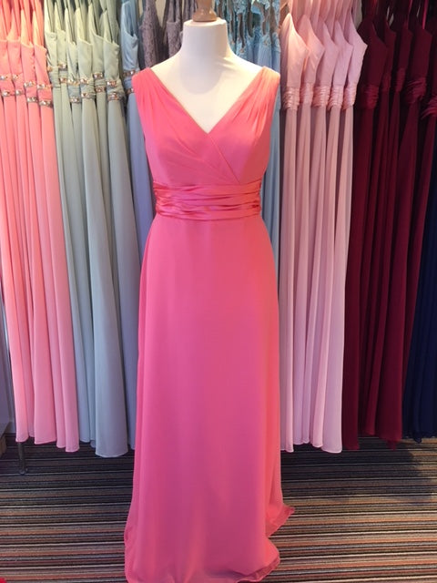 Ex Shop Sample EN364SP  - Coral Chiffon V Neck Bridesmaid Dress by Linzi Jay - Size 20