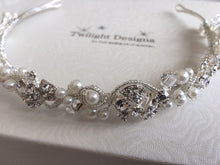 Load image into Gallery viewer, A Crystal & Pearl Diamante Headband/Tiara by Twilight Designs TLT4641