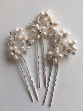 Load image into Gallery viewer, Set of 3 Pearl and Diamante Hair Pins