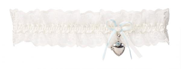 Ivory Lace Garter with Heart Locket by Poirier (KB-34)