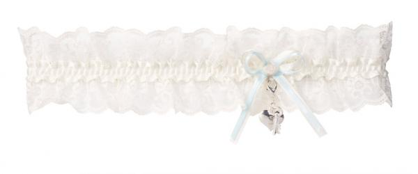 Ivory Lace Garter with Heart lock & Key by Piorier (KB-36)