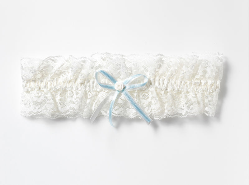 Ivory Lace Garter with blue satin bow by Poirier - KB-50