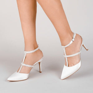 Kimberley Ivory Satin High Heel Open Court Shoes by Paradox London