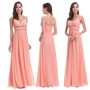 Pretty V-Neck Grecian Style Bridesmaid Dress - Peach