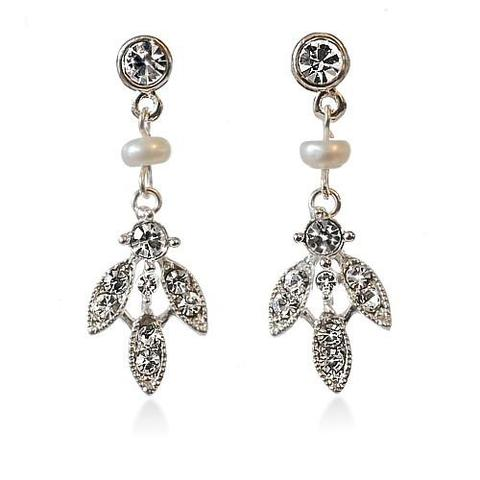 Pearl and Diamante Pendant Earrings
