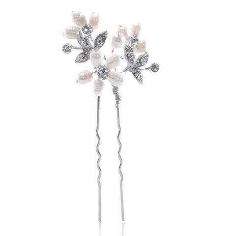 Set of 3 Pearl and Diamante Hair Pins