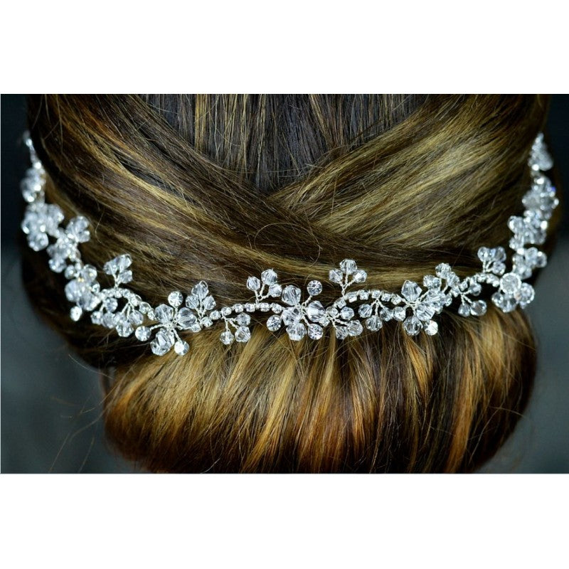 A Beautiful Silver Crystal and Diamante Hair Vine TLH3064 by Twilight Designs