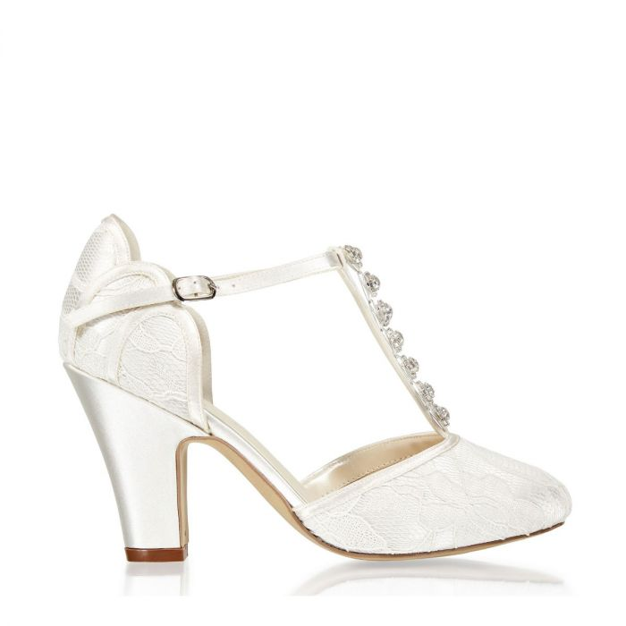 Adelia Ivory Lace Trim Detail High Heel Two Part Shoe by Paradox London
