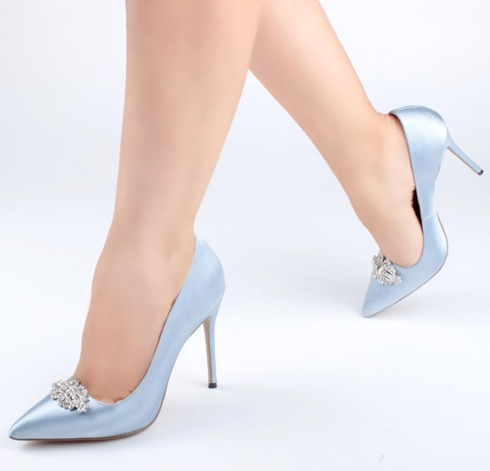 Alandra - High Stiletto Jewelled 'Something Blue' Court Shoe by Paradox London