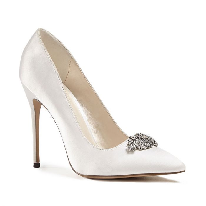 Alandra - High Stiletto Jewelled Ivory Court Shoe by Paradox London