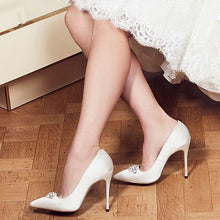 Load image into Gallery viewer, Alandra - High Stiletto Jewelled Ivory Court Shoe by Paradox London