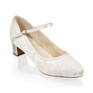Amiya - Ivory Lace Wide Fit Two Part Low Heel Shoe by Paradox London