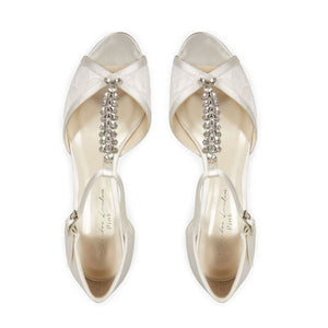 Beth - Ivory Satin And Lace Two Part High Heel Peep Toe Shoe by Paradox London