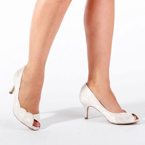 Coleen Ivory Lace Mid Heel Peep Toe Shoe by Paradox London