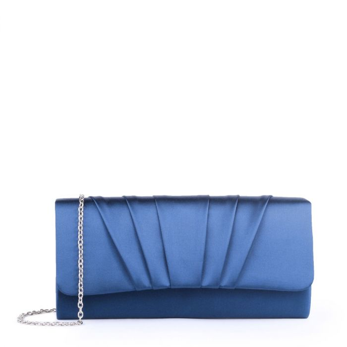 Darrah  -  Navy Ruched Clutch Bag