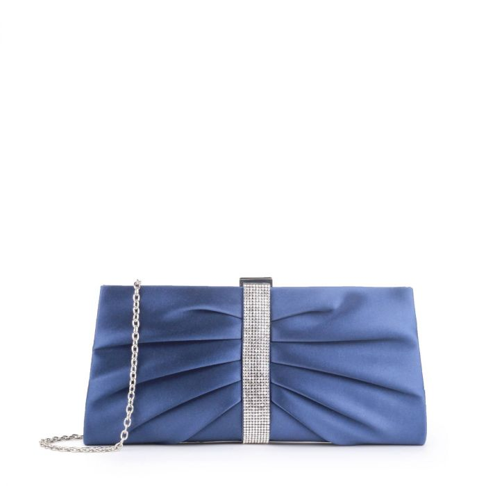 Denver - Navy Ruche Detailed Clutch Bag