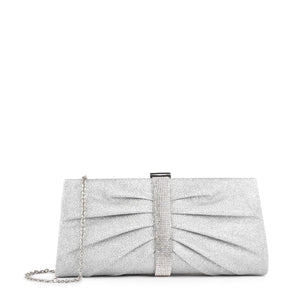 Denver - Silver Ruche Detailed Clutch Bag