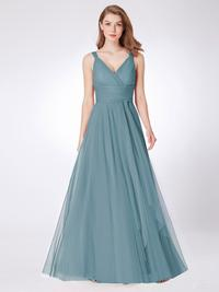 Dusty Blue Tulle Bridesmaid/Prom Dress