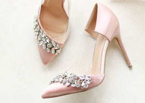 Frida - Blush Satin High Heel Court Shoe by Paradox London