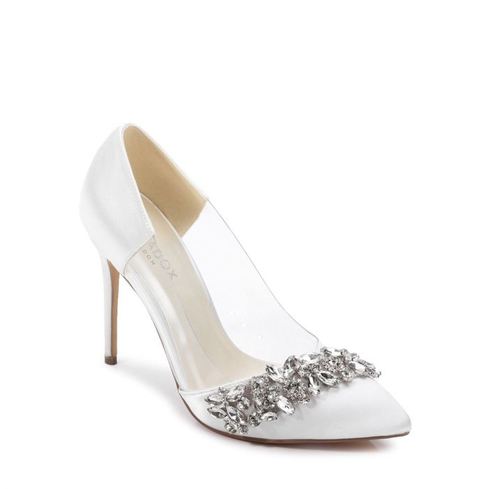 Frida - Ivory Satin High Heel Court Shoe by Paradox London