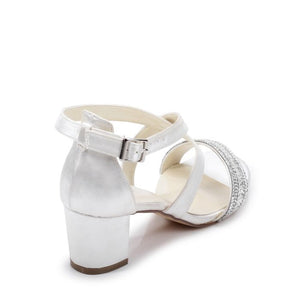 Hasina Ivory Satin Wide Fit Mid Block Heel Sandal by Paradox London
