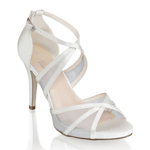 Hinoa Ivory High Heel Ankle Strap Sandals by Paradox London