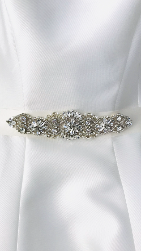 Ivory Satin Bridal Sash/Belt with Rhinestones