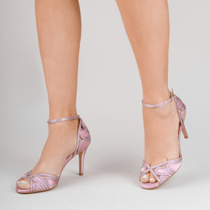 Latoya - Blush Satin High Heel Ankle Strap Sandals by Paradox London