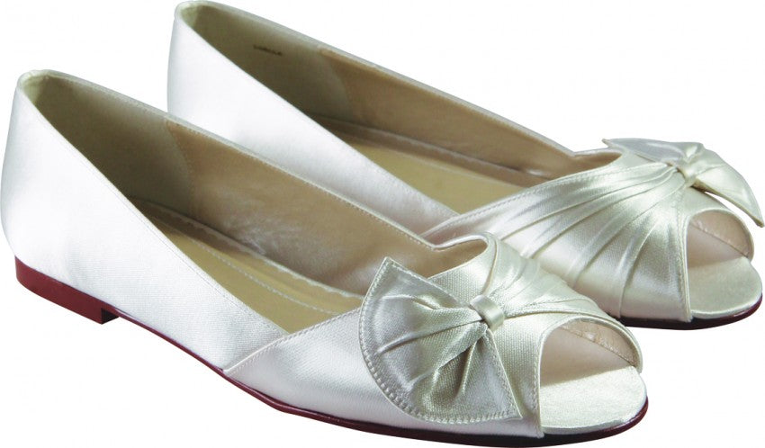 Louella - Flat Peep Toe Ivory Wedding Shoe - Size 3.5